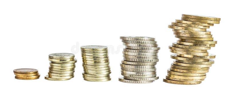 Αυξανόμενος σωρός νομισμάτων χρημάτων χρυσές νομίσματα και γραφικές παραστάσεις στοκ φωτογραφία