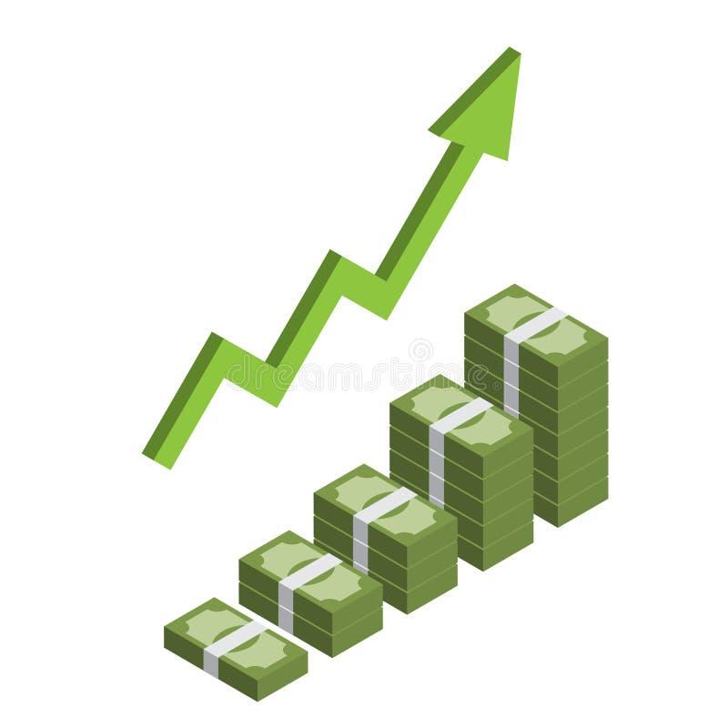 Αυξανόμενος σωρός των isometric χρημάτων με το βέλος, που πραγματοποιεί το κέρδος, αύξηση εισοδήματος infographic διανυσματική απεικόνιση