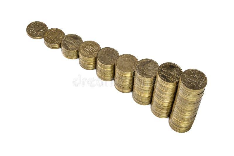 Αυξανόμενος το διάγραμμα από τις στήλες των χρυσών νομισμάτων που απομονώνονται στο άσπρο υπόβαθρο στοκ εικόνες