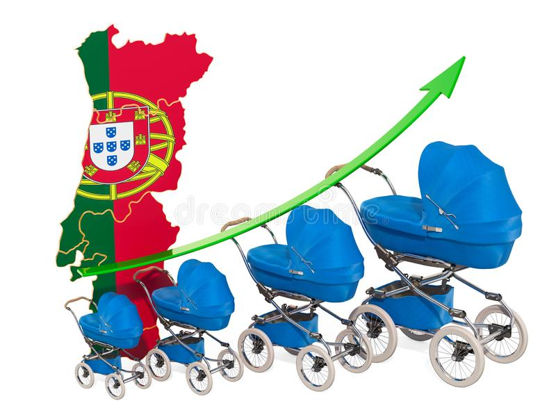 Αυξανόμενο ποσοστό γεννητικότητας στην Πορτογαλία, έννοια r διανυσματική απεικόνιση