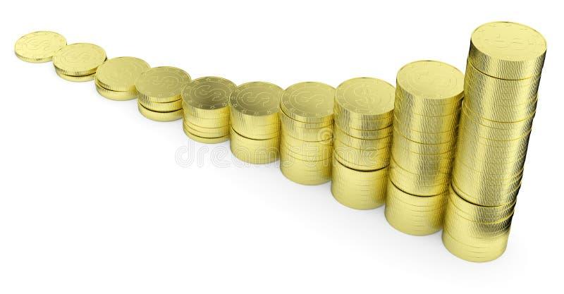 Αυξανόμενο χρυσό ιστόγραμμα νομισμάτων δολαρίων ελεύθερη απεικόνιση δικαιώματος