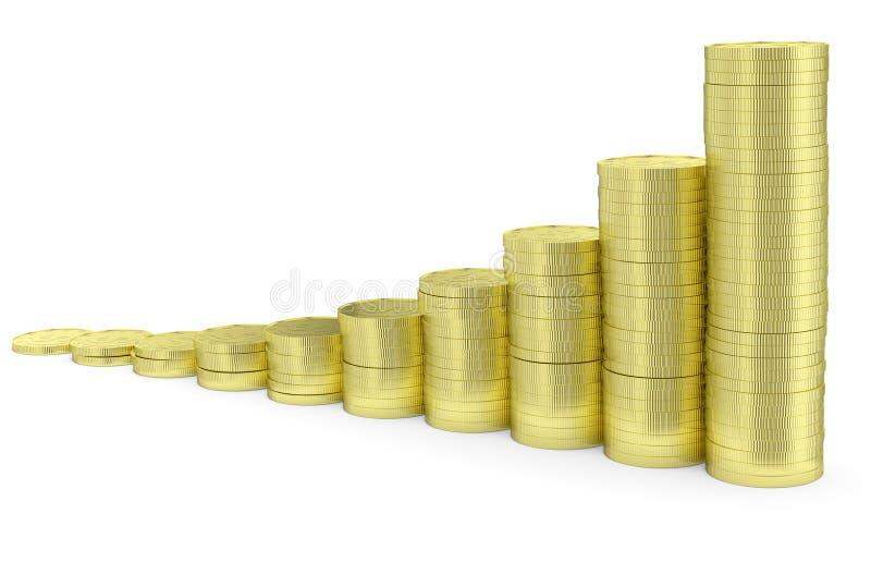 Αυξανόμενο χρυσό ιστόγραμμα νομισμάτων δολαρίων διανυσματική απεικόνιση