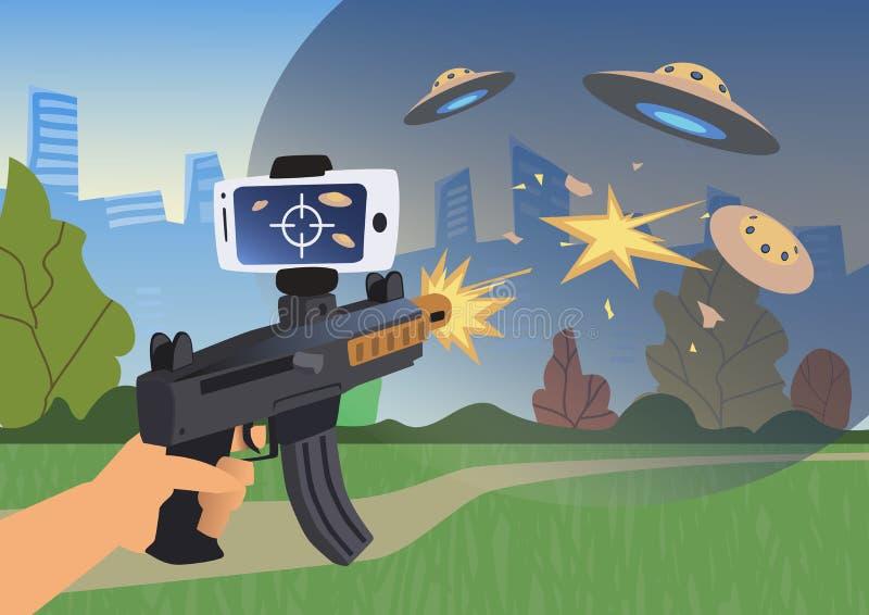 Αυξημένα παιχνίδια πραγματικότητας Αγόρι με το πυροβόλο όπλο του AR που παίζει σκοπευτές Όπλο παιχνιδιών με το κινητό τηλέφωνο επ διανυσματική απεικόνιση