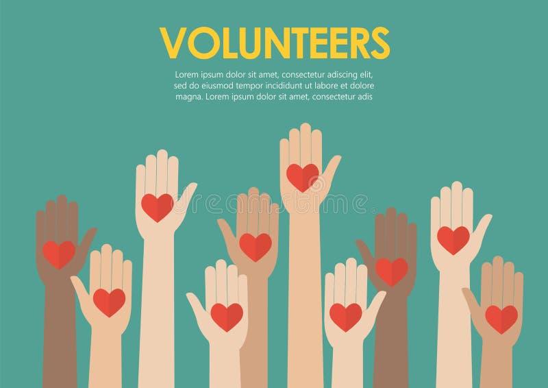 Αυξημένη έννοια εθελοντών χεριών διανυσματική απεικόνιση
