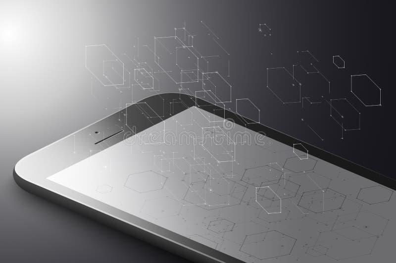 Αυξημένη έννοια μάρκετινγκ πραγματικότητας Μαύρο έξυπνο τηλέφωνο χρώματος με hexagons, τις γραμμές και τα σημεία Hexagon Infograp απεικόνιση αποθεμάτων