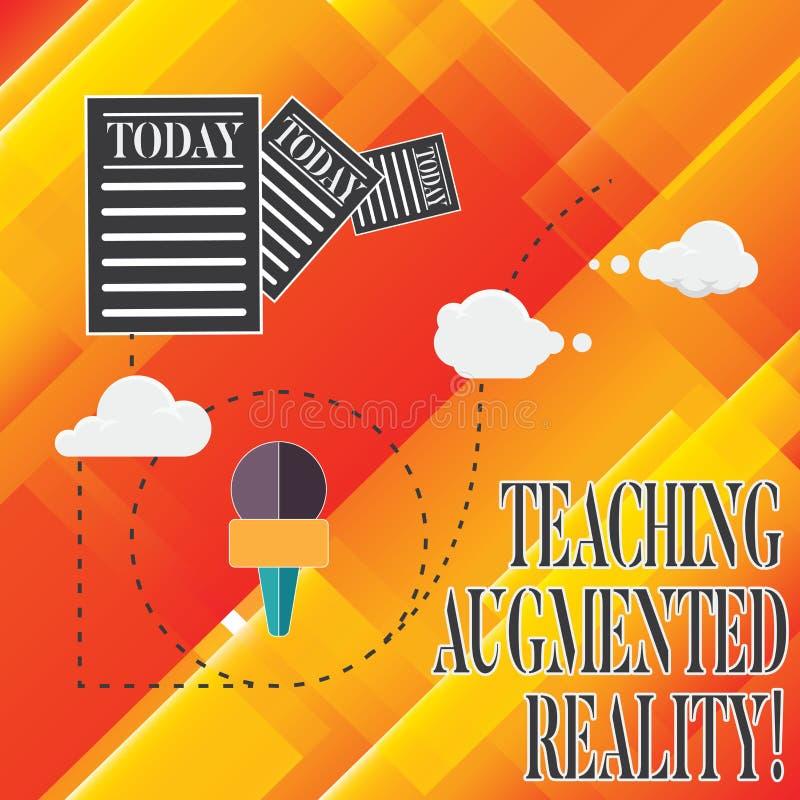 Αυξημένη διδασκαλία πραγματικότητα κειμένων γραφής Έννοια που σημαίνει τη χρήση του AR apps άμεσα στις πληροφορίες τάξεων διανυσματική απεικόνιση
