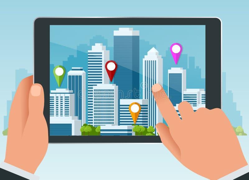 Αυξημένη πραγματικότητα της πόλης ή της δορυφορικής έννοιας ναυσιπλοΐας ΠΣΤ Προγραμματισμός διαδρομών ταξιδιού, τουρισμού και θέσ διανυσματική απεικόνιση