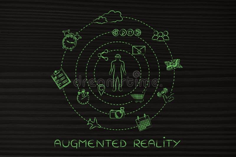 Αυξημένος χρήστης γυαλιών πραγματικότητας που περιβάλλεται με την περιστροφή app των εικονιδίων διανυσματική απεικόνιση