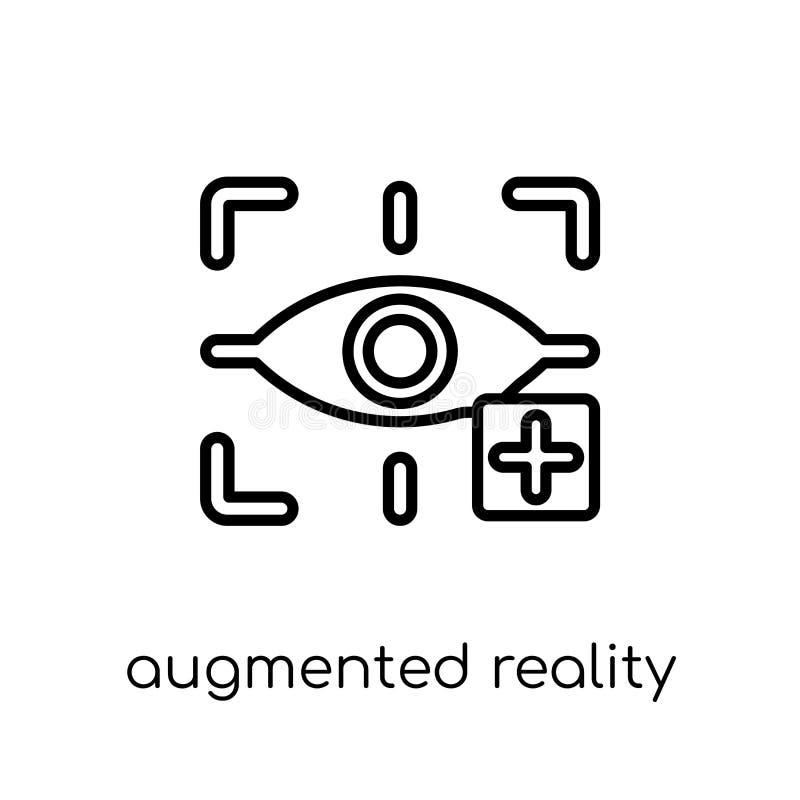 Αυξημένο εικονίδιο πραγματικότητας Το καθιερώνον τη μόδα σύγχρονο επίπεδο γραμμικό διάνυσμα αυξάνει διανυσματική απεικόνιση
