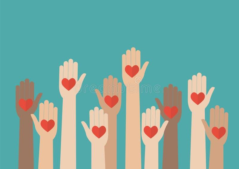 Αυξημένο να προσφερθεί εθελοντικά χεριών ελεύθερη απεικόνιση δικαιώματος