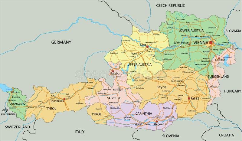 Αυστρία - ιδιαίτερα λεπτομερής editable πολιτικός χάρτης με το μαρκάρισμα απεικόνιση αποθεμάτων