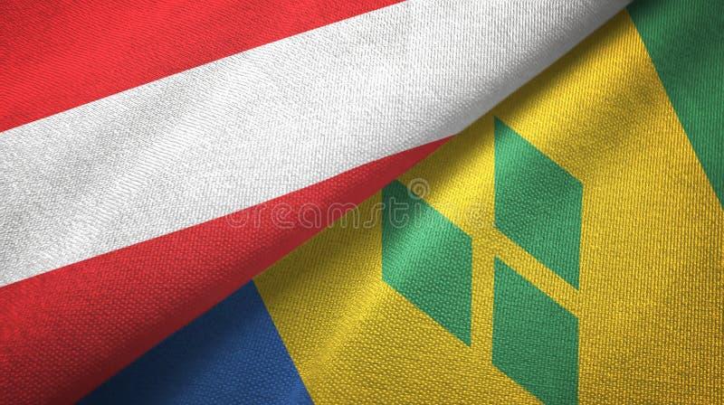 Αυστρία και Άγιος Βικέντιος και Γρεναδίνες δύο υφαντικό ύφασμα σημαιών διανυσματική απεικόνιση