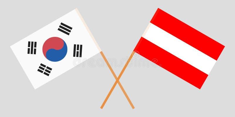 Αυστρία και Νότια Κορέα Οι αυστριακές και κορεατικές σημαίες Επίσημα χρώματα Σωστή αναλογία διάνυσμα απεικόνιση αποθεμάτων