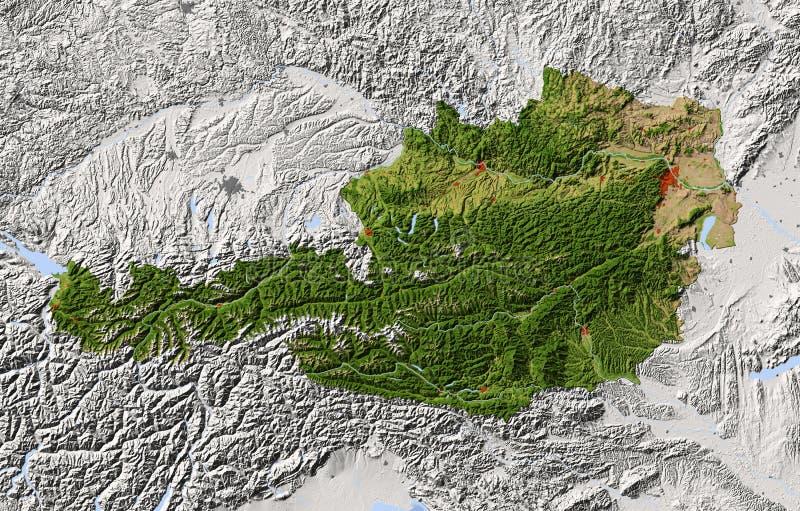 Αυστρία, σκιασμένος χάρτης αναγλύφου απεικόνιση αποθεμάτων