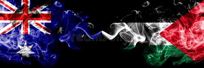 Αυστραλία εναντίον της Παλαιστίνης, παλαιστινιακές καπνώείς απόκρυφες σημαίες που τοποθετούνται δίπλα-δίπλα Πυκνά χρωματισμένος μ απεικόνιση αποθεμάτων