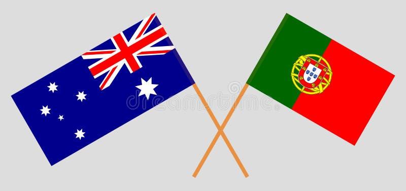 Αυστραλία και Πορτογαλία Οι αυστραλιανές και πορτογαλικές σημαίες r o r ελεύθερη απεικόνιση δικαιώματος