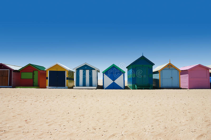Αυστραλιανά κιβώτια λουσίματος στην παραλία του Μπράιτον στοκ εικόνα με δικαίωμα ελεύθερης χρήσης