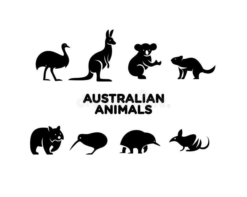 Αυστραλιανή ζωική απεικόνιση σχεδίων εικονιδίων λογότυπων ελεύθερη απεικόνιση δικαιώματος