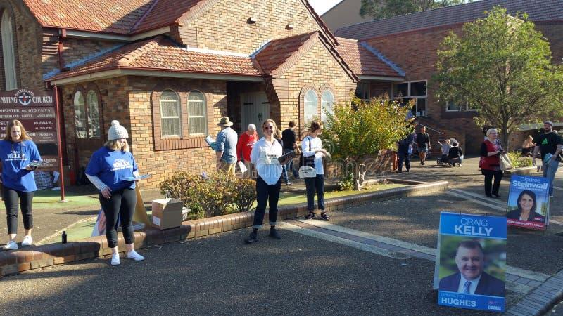 2019 αυστραλιανός ομοσπονδιακός σταθμός ψηφοφορίας εκλογής σε Sutherland στοκ φωτογραφίες με δικαίωμα ελεύθερης χρήσης