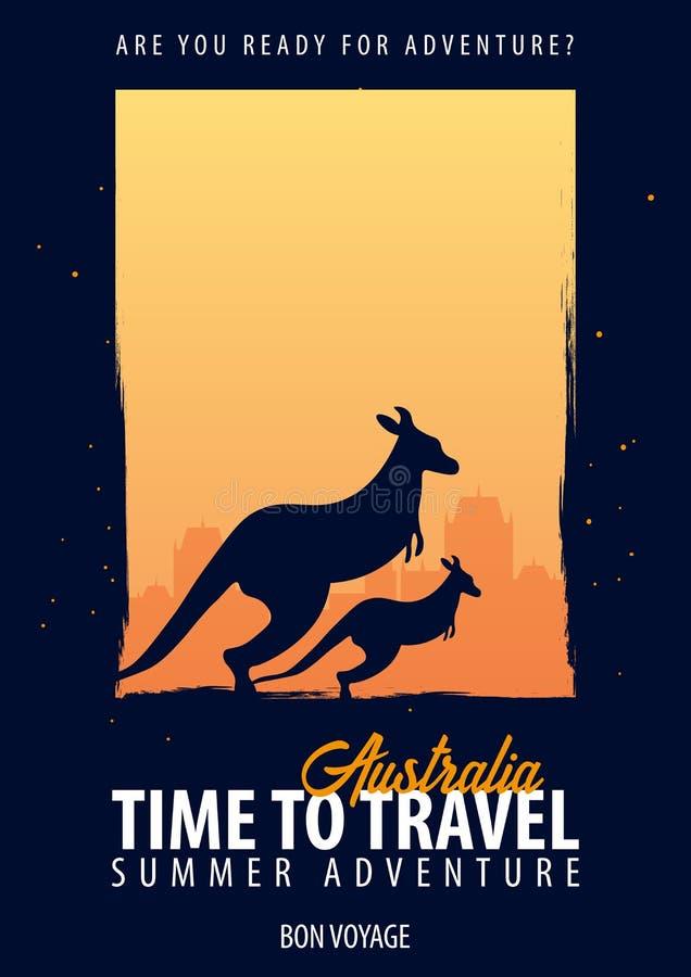 Αυστραλοί χρόνος να ταξιδεψει Ταξίδι, ταξίδι, διακοπές Η περιπέτειά σας Ταξίδι Bon διανυσματική απεικόνιση