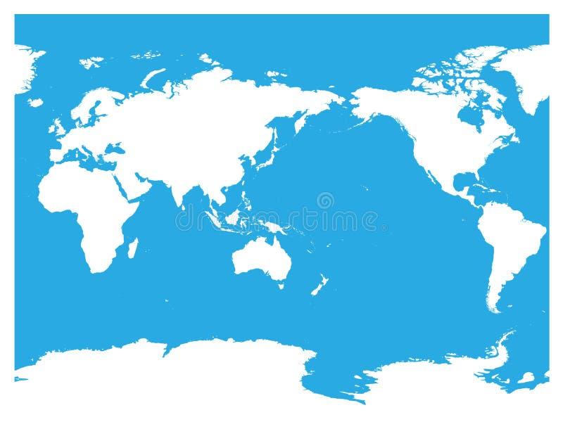 Αυστραλία και κεντροθετημένος Ειρηνικός Ωκεανός παγκόσμιος χάρτης Υψηλή άσπρη σκιαγραφία λεπτομέρειας στο μπλε υπόβαθρο επίσης co διανυσματική απεικόνιση