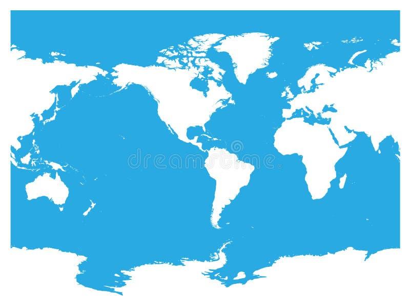 Αυστραλία και κεντροθετημένος Ειρηνικός Ωκεανός παγκόσμιος χάρτης Υψηλή άσπρη σκιαγραφία λεπτομέρειας στο μπλε υπόβαθρο επίσης co ελεύθερη απεικόνιση δικαιώματος