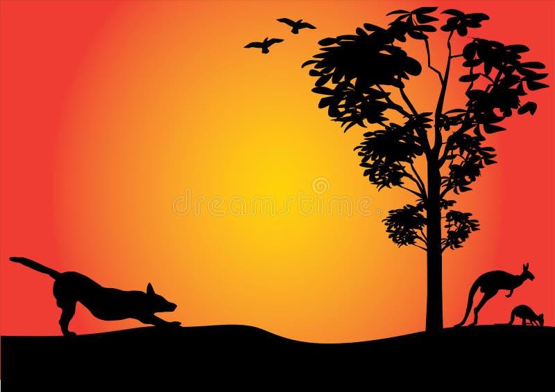 Αυστραλιανός εσωτερικός με το τέντωμα dingo διανυσματική απεικόνιση