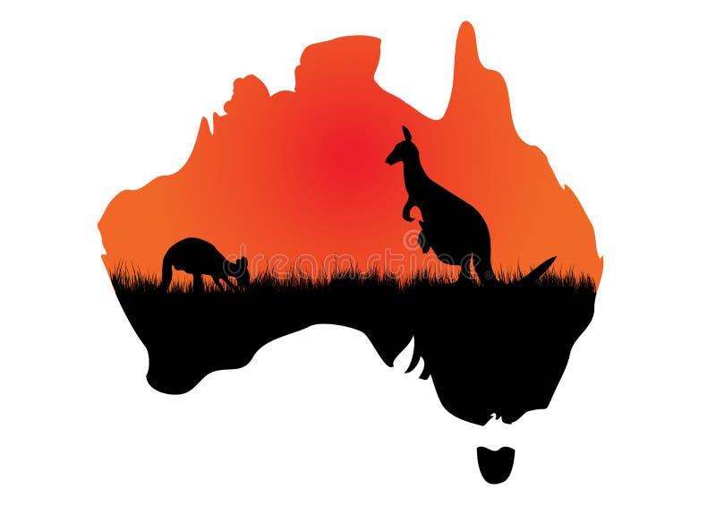 Αυστραλιανός χάρτης με το kangaaroo απεικόνιση αποθεμάτων