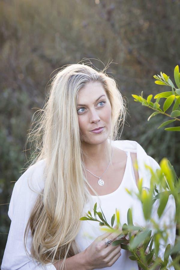 Αυστραλός με τα μακριά ξανθά μαλλιά σχετικά με το δέντρο στοκ εικόνες