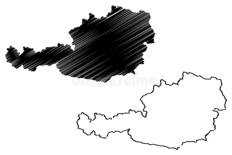 Αυστριακό διάνυσμα χαρτών διανυσματική απεικόνιση