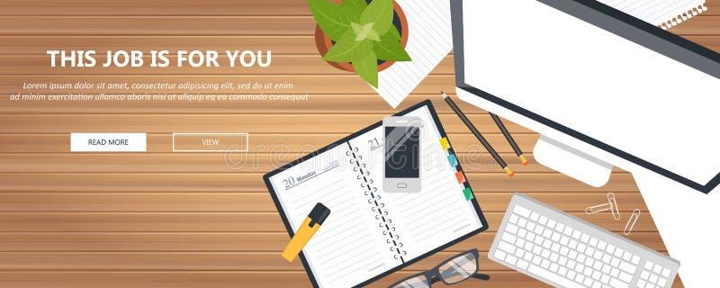 Αυτή η δουλειά είναι για σένα. Πρόσληψη και εύρεση νέου ατόμου για την έννοια της εργασίας Γραφείο με εξοπλισμό γραφείου Επίπεδο  διανυσματική απεικόνιση