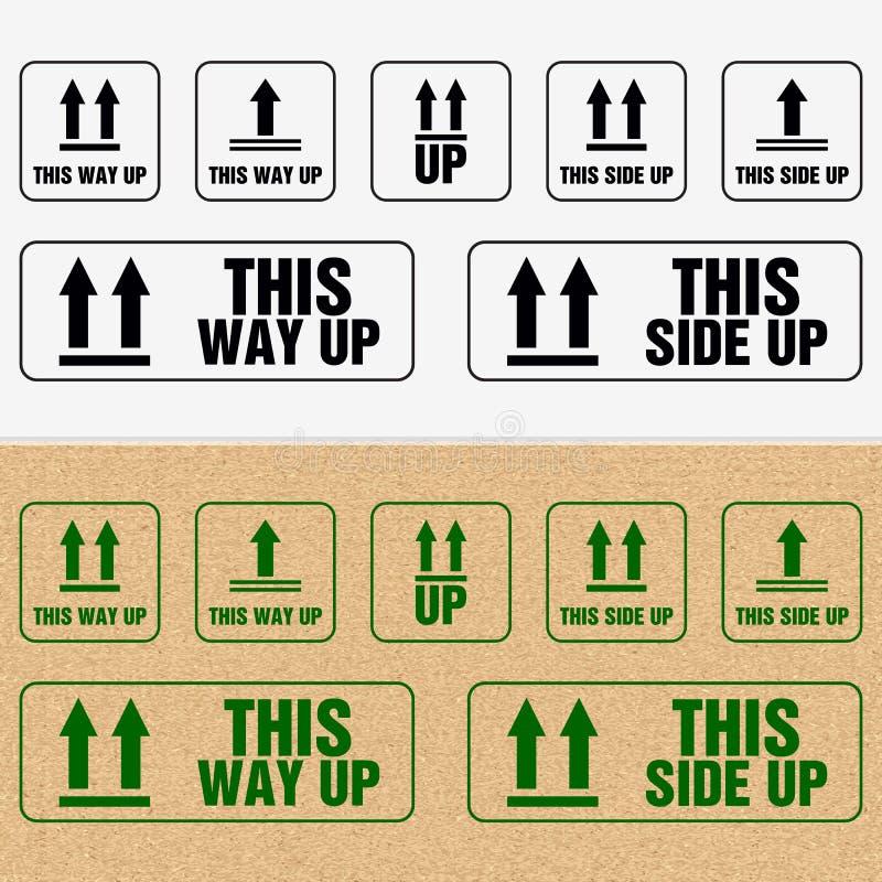 Αυτή η πλευρά επάνω στο εικονίδιο Αυτός ο τρόπος υπογράφει επάνω Συσκευάζοντας σύμβολο ελεύθερη απεικόνιση δικαιώματος