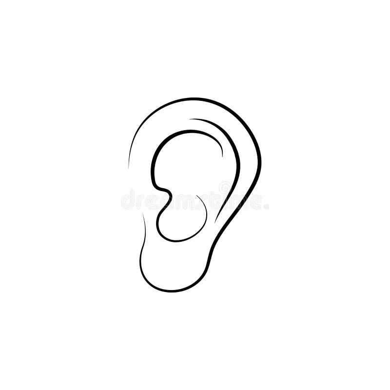 αυτί, αίσθηση, ήχος, εικονίδιο σχεδίασης ανθρώπινου χεριού απεικόνιση αποθεμάτων