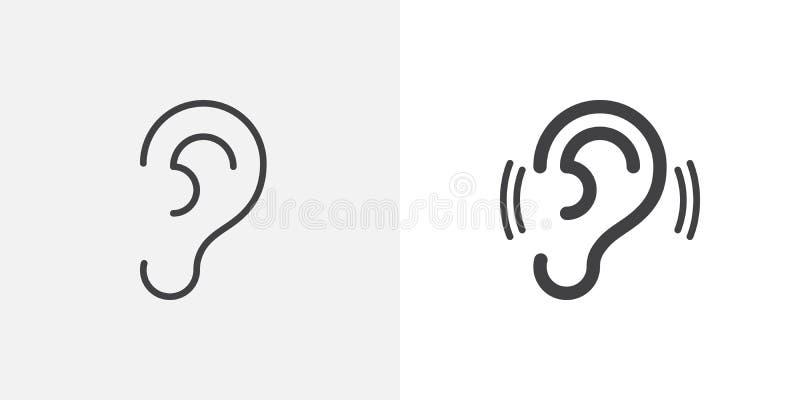 Αυτί, εικονίδιο ακοής διανυσματική απεικόνιση