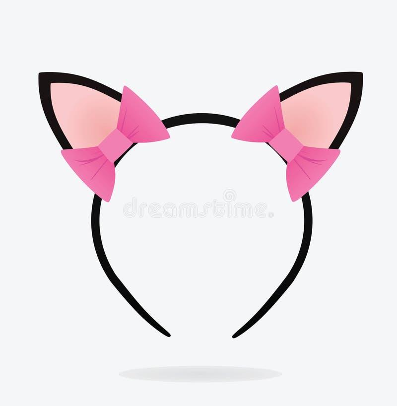Αυτιά γατών με headband τόξων διανυσματική απεικόνιση