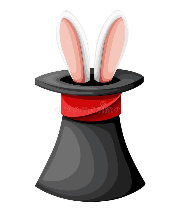 Αυτιά λαγών σε ένα μαγικό μαύρο καπέλο Απεικόνιση κινούμενων σχεδίων που απομονώνεται στην άσπρη σελίδα ιστοχώρου υποβάθρου και τ διανυσματική απεικόνιση
