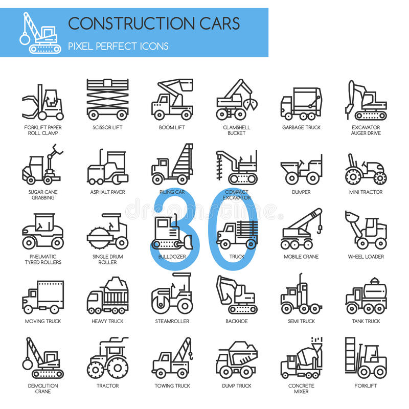 Αυτοκίνητα κατασκευής, λεπτά εικονίδια γραμμών καθορισμένα διανυσματική απεικόνιση