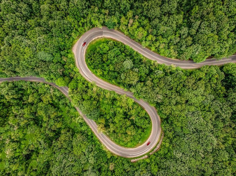 Αυτοκίνητα στο δρόμο Δρόμος με πολλ'ες στροφές Extrem στη μέση του δάσους, Γ στοκ εικόνες