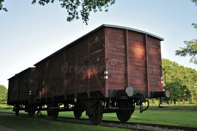 Αυτοκίνητα τραίνων φορτίου στο στρατόπεδο διέλευσης Westerbork στοκ εικόνες