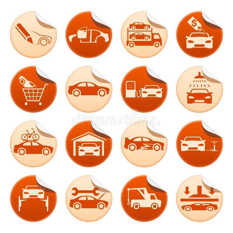 Αυτοκίνητες αυτοκόλλητες ετικέττες ελεύθερη απεικόνιση δικαιώματος