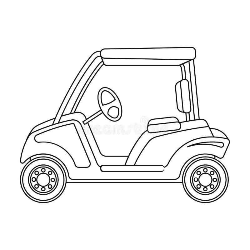 Αυτοκίνητο για το γκολφ Ενιαίο εικονίδιο γκολφ κλαμπ στο διανυσματικό Ιστό απεικόνισης αποθεμάτων συμβόλων ύφους περιλήψεων απεικόνιση αποθεμάτων