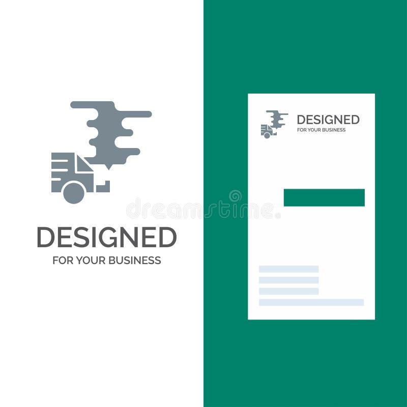 Αυτοκίνητο, αυτοκίνητο, εκπομπή, αέριο, γκρίζο σχέδιο λογότυπων ρύπανσης και πρότυπο επαγγελματικών καρτών ελεύθερη απεικόνιση δικαιώματος