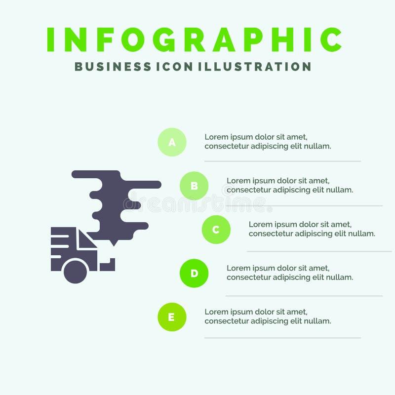 Αυτοκίνητο, αυτοκίνητο, εκπομπή, αέριο, στερεό εικονίδιο Infographics 5 ρύπανσης υπόβαθρο παρουσίασης βημάτων απεικόνιση αποθεμάτων