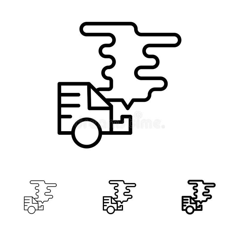 Αυτοκίνητο, αυτοκίνητο, εκπομπή, αέριο, τολμηρό και λεπτό μαύρο σύνολο εικονιδίων γραμμών ρύπανσης διανυσματική απεικόνιση