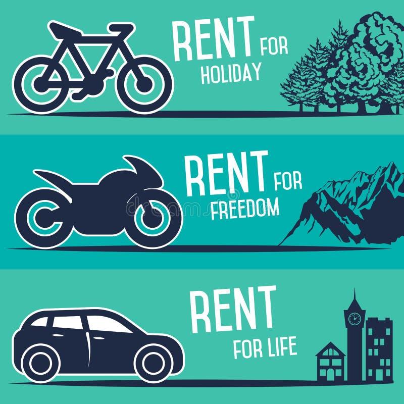 Αυτοκίνητο ενοικίου και άλλα εμβλήματα μεταφορών ελεύθερη απεικόνιση δικαιώματος