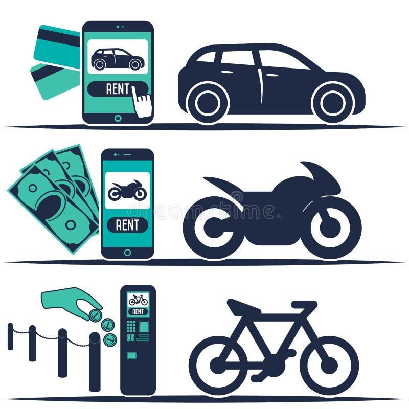 Αυτοκίνητο ενοικίου και άλλα εμβλήματα μεταφορών απεικόνιση αποθεμάτων