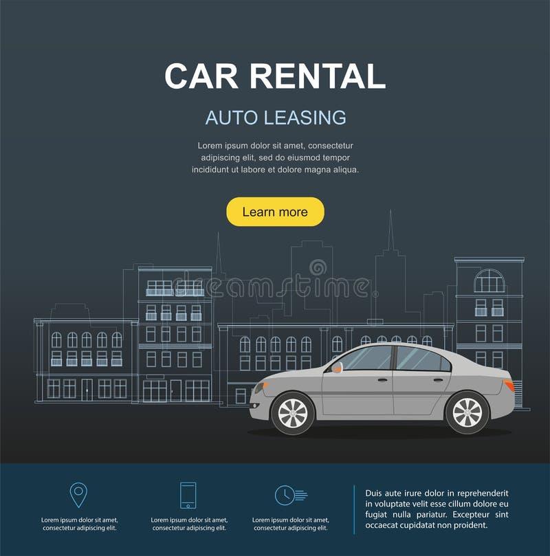 Αυτοκίνητο ενοικίου και αυτόματο έμβλημα μίσθωσης Έννοιες ενοικίου απεικόνιση αποθεμάτων