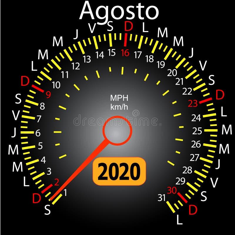 αυτοκίνητο ημερολογιακών ταχυμέτρων έτους του 2020 τον ισπανικό Αύγουστο διανυσματική απεικόνιση