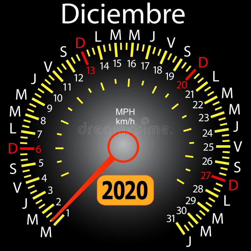 αυτοκίνητο ημερολογιακών ταχυμέτρων έτους του 2020 τον ισπανικό Δεκέμβριο διανυσματική απεικόνιση