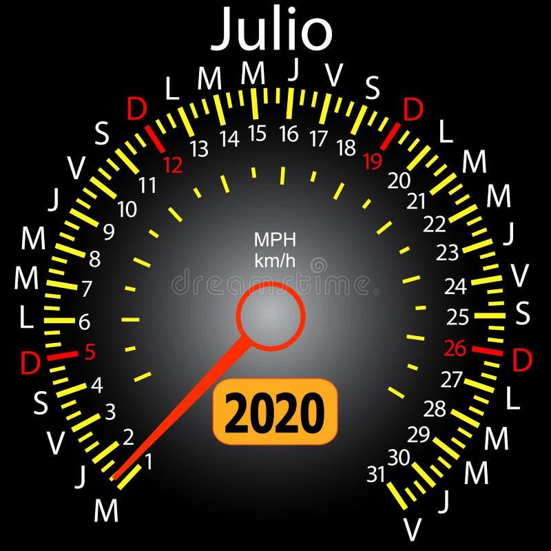 αυτοκίνητο ημερολογιακών ταχυμέτρων έτους του 2020 τον ισπανικό Ιούλιο ελεύθερη απεικόνιση δικαιώματος